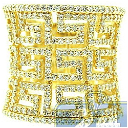 Womens 1.05 ct Diamond Greek Key Wide Ring in 14K Yellow Gold