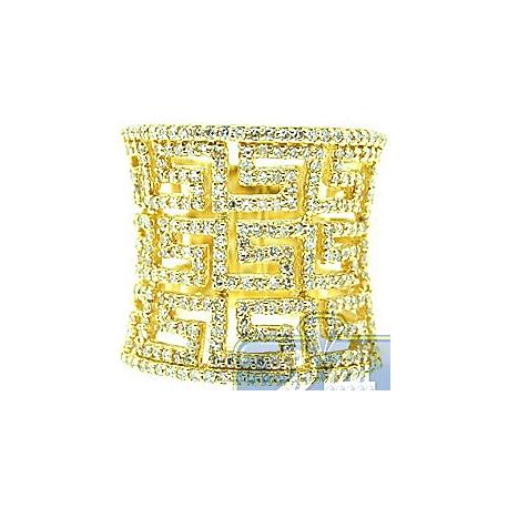 Womens 1.05 ct Diamond Greek Key Wide Ring in 14K Yellow Gold