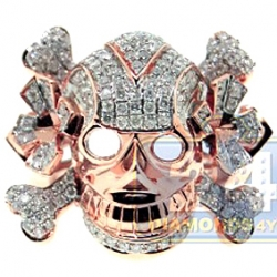 14K Rose Gold 1.70 ct Diamond Mens Skull Head Ring