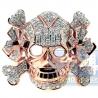 14K Rose Gold 1.70 ct Diamond Mens Skull Head Ring