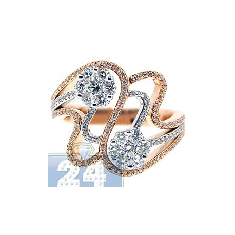 14K Two Tone Gold 0.90 ct Diamond Cluster Womens Swirl Ring