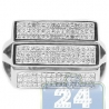 14K White Gold 0.55 ct Princess Cut Diamond Mens Square Ring