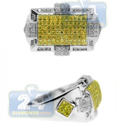 14K White Gold 1.40 ct Yellow Diamond Mens Signet Ring