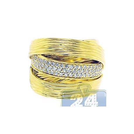 14K Yellow Gold 0.55 ct Diamond Womens Vintage Satin Finished Ring