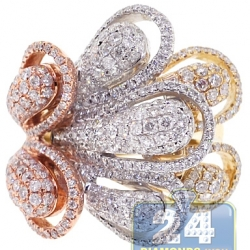 14K 3 Tone Gold 3.10 ct Diamond Abstract Flower Cocktail Ring