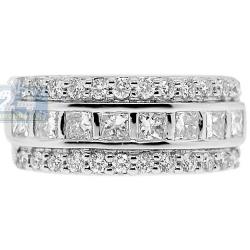 14K White Gold 1.36 ct Princess Round Cut Diamond Womens Band Ring