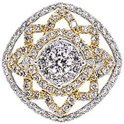 14K 2 Tone Gold 2.80 ct Diamond Vintage Openwork Cocktail Ring