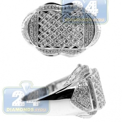 14K White Gold 1.35 ct Diamond Vintage Style Mens Ring
