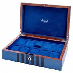 10 Watch Storage Box L440 Rapport London Labyrinth Blue Wood