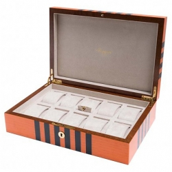 10 Watch Storage Box L443 Rapport London Labyrinth Orange Wood