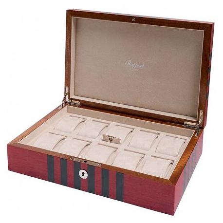 10 Watch Storage Box L444 Rapport London Labyrinth Red Wood
