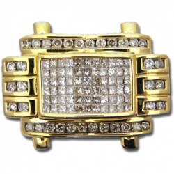 14K Yellow Gold 1.50 ct Princess Round Cut Diamonds Mens Ring