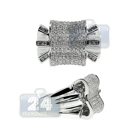 14K White Gold 1.48 ct Diamond Abstractly Shaped Mens Ring