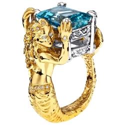 18K Yellow Gold Platinum 7.59 ct Aquamarine Diamond Mermaid Ring