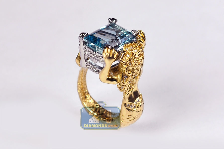 Gia Aquamarine Diamond Mermaid Ring 18k Yellow Gold Platinum