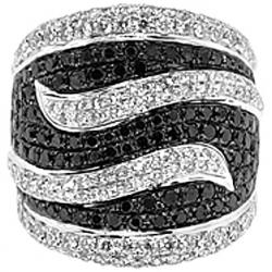 14K Gold 4.06 ct Black White Diamond Wave Shaped Womens Ring