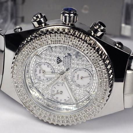 Mens Diamond Steel Watch Aqua Master Sport Plastic 1.00 ct