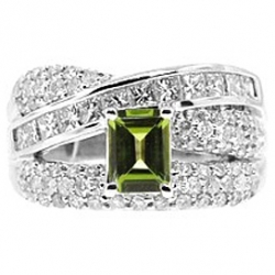 14K White Gold 2.60 ct Green Peridot Diamond Womens Band Ring
