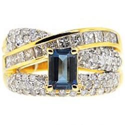 14K Yellow Gold 2.74 ct London Blue Topaz Diamond Ring