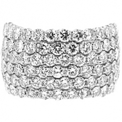 14K White Gold 4.01 ct 6 Rows Diamond Womens Band Ring