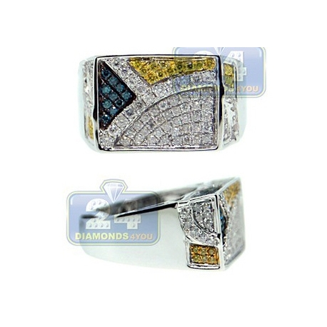 14K Gold 1.55 ct White Blue Yellow Diamond Mens Rectangle Ring