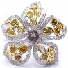 14K Gold 5.16 ct Fancy Yellow Brown White Diamond Flower Womens Ring