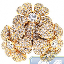 14K 2 Tone Gold 3.54 ct Diamond 3 Flowers in 1 Cocktail Ring