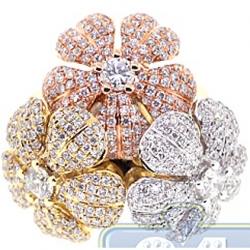 14K 3 Tone Gold 3.54 ct Diamond 3-Flower Womens Ring