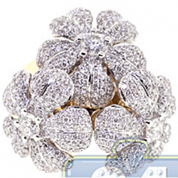 14K Yellow Gold 3.57 ct Diamond Triple Flower Cocktail Ring