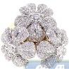 14K Yellow Gold 3.57 ct Diamond Triple Flower Womens Cocktail Ring