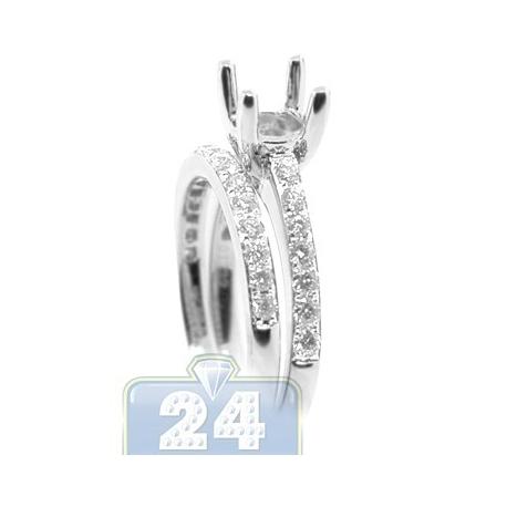 18K Gold 0.66 ct Diamond Engagement Semi Mount Ring Band Set