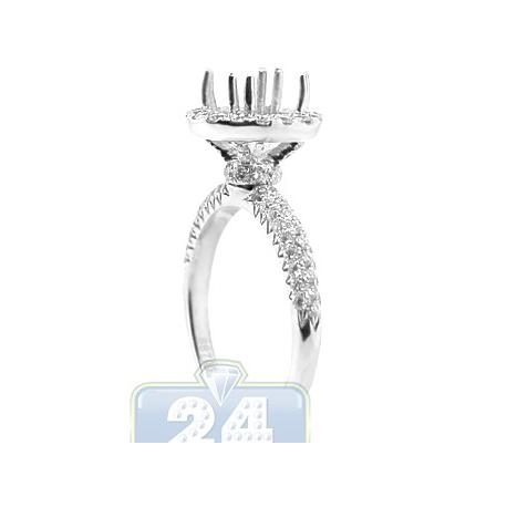 18K White Gold 0.77 ct Diamond Halo Engagement Ring Setting