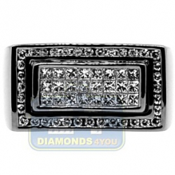 Black PVD 14K Gold 1.16 ct Princess Diamond Mens Rectangle Ring