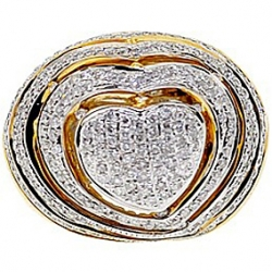 14K Yellow Gold 1.79 ct Diamond Heart Shape Womens Ring