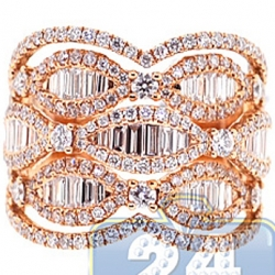 18K Rose Gold 2.30 ct Baguette Diamond Womens Vintage Ring