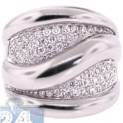 18K White Gold 1.89 ct Diamond Womens Large Wave Ring