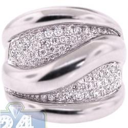 18K White Gold 1.89 ct Diamond Womens Large Wave Ring