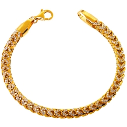 Mens Diamond Franco Bracelet Solid 14K Yellow Gold 3.20 ct 5mm 8""