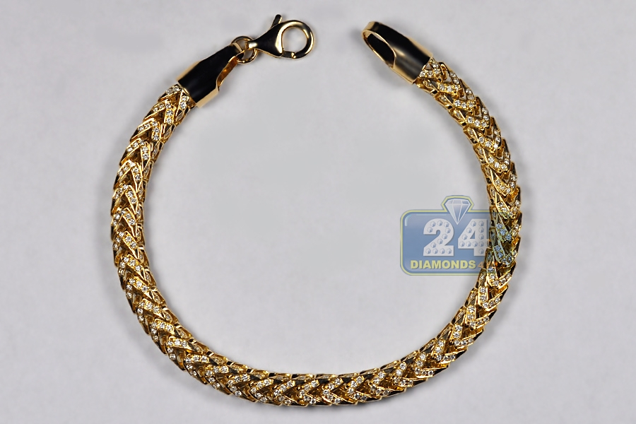 gold real diamond chain itm men bracelet yellow rope womens cut