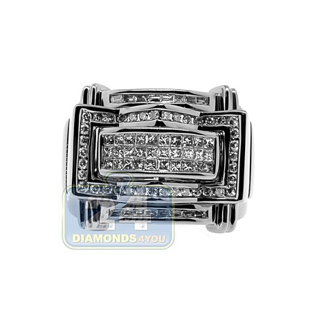 Black PVD 14K Gold 1.16 ct Princess Round Diamond Mens Ring