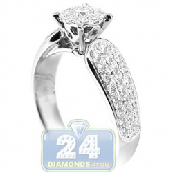 14K White Gold 0.99 ct Diamond Cluster Engagement Ring