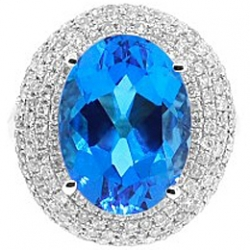 14K White Gold 13.15 ct Swiss Blue Topaz Diamond Cocktail Ring