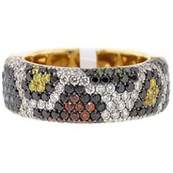 14K Yellow Gold 2.54 ct Multicolored Diamond Mosaic Womens Ring