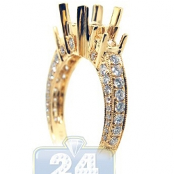 18K Gold 0.75 ct 3 Stone Diamond Engagement Ring Setting