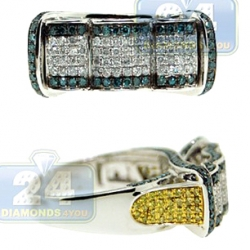 14K Gold 1.35 ct White Yellow Blue Diamond Mens Ring