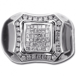 14K White Gold 1.10 ct Princess Round Diamond Mens Ring