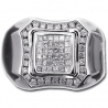 14K White Gold 1.10 ct Princess Cut Diamond Mens Ring
