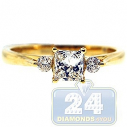 14K Yellow Gold 0.82 ct Mixed 3 Stone Diamond Engagement Ring