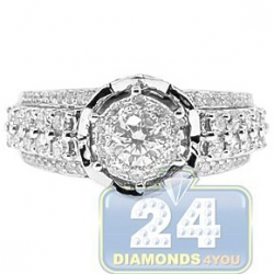 14K White Gold 1.23 ct Diamond Cluster Engagement Ring