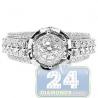 14K White Gold 1.23 ct Diamond Cluster Multistone Engagement Ring